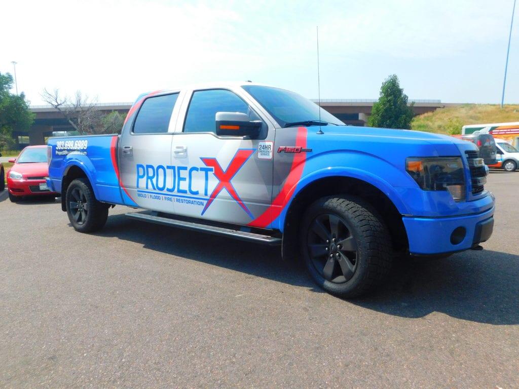 Truck with a custom vinyl wrap